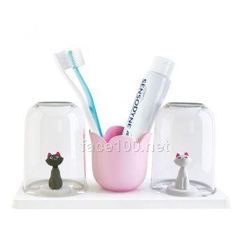 猫咪情侣洗漱套杯
