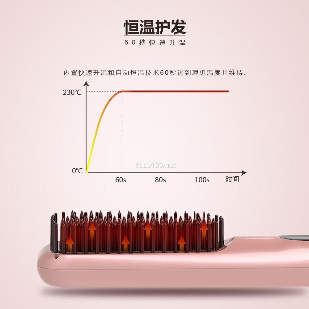 负离子直发梳 不伤发直发器 电动拉防烫直发梳 曲直S112